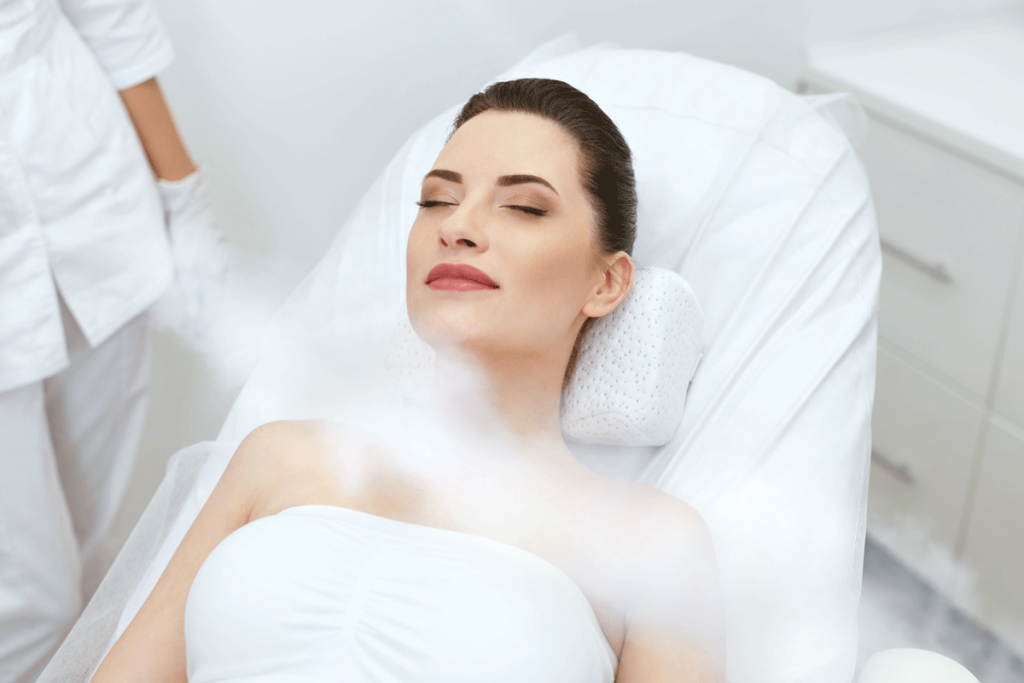 woman doing a cryo facial