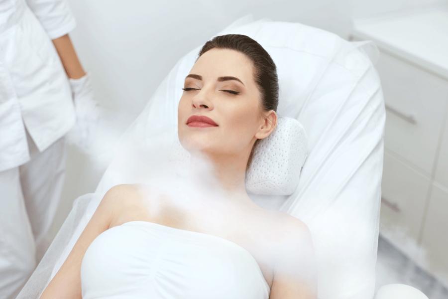 woman doing a cryo facial