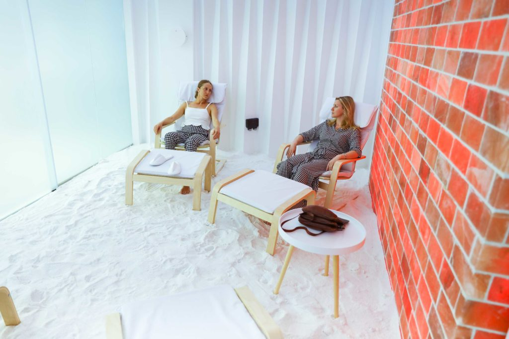 women during a salt therapy session