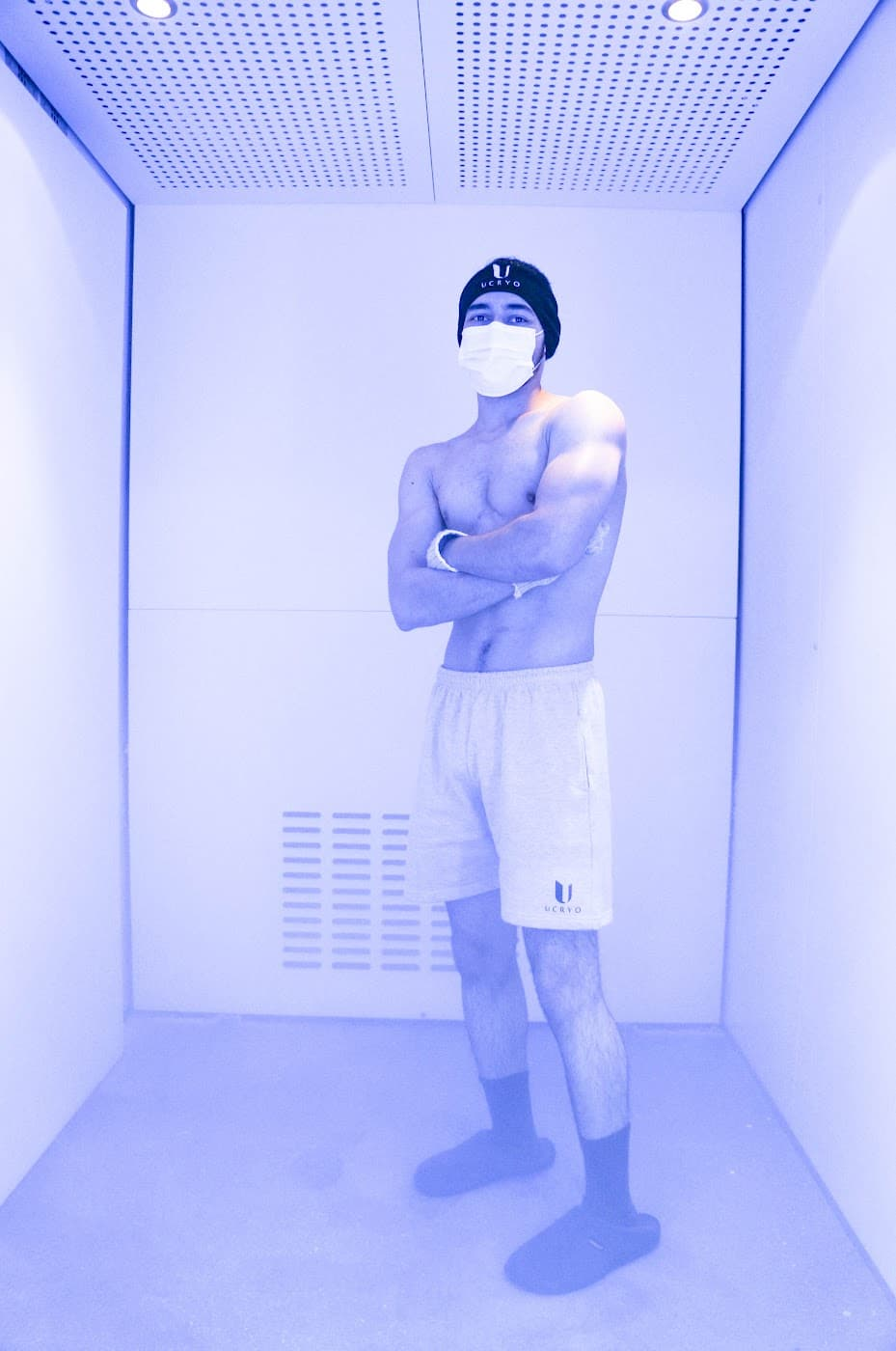 man in ucryo cryotherapy chamber